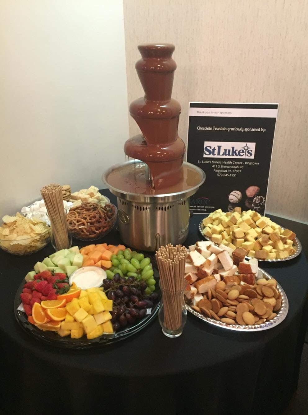 chocolate fountain and snacks