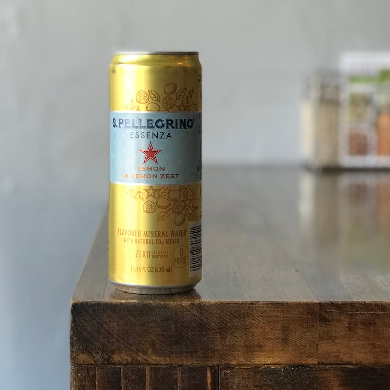 a close up of a can sitting on a counter