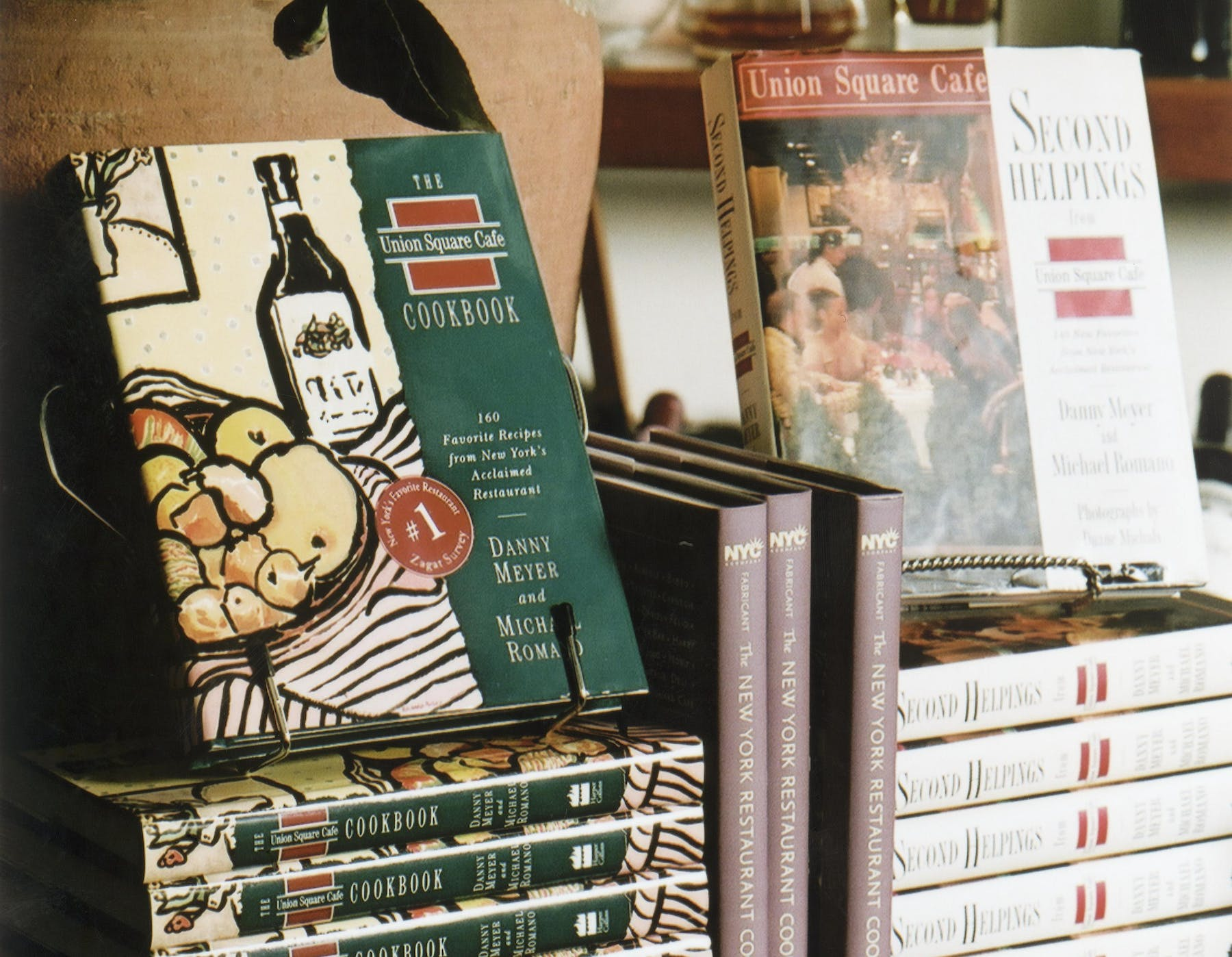 a stack of Union Square Cafe cookbooks