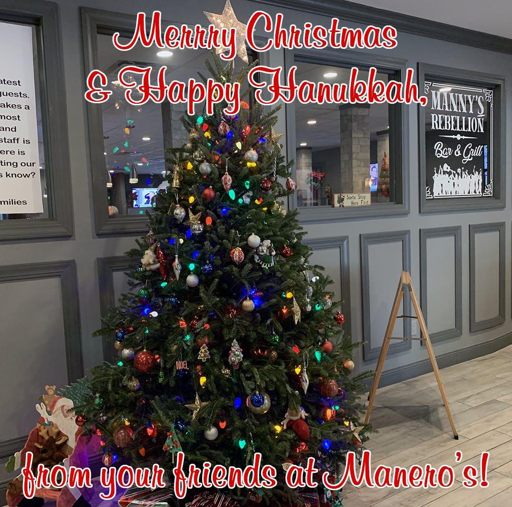 Christmas tree in lobby.
