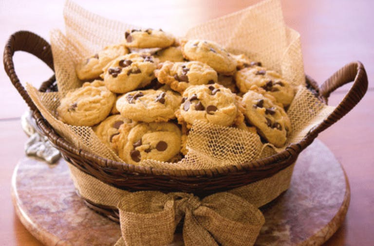 a basket full of cookies