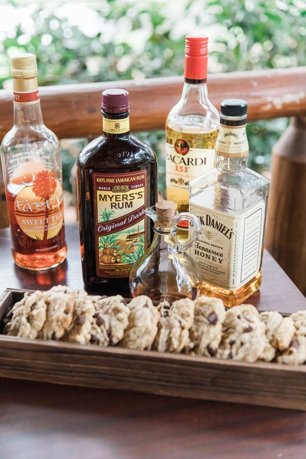 alcohol bottles and cookies
