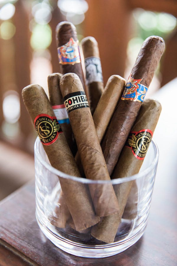a close up of cigars
