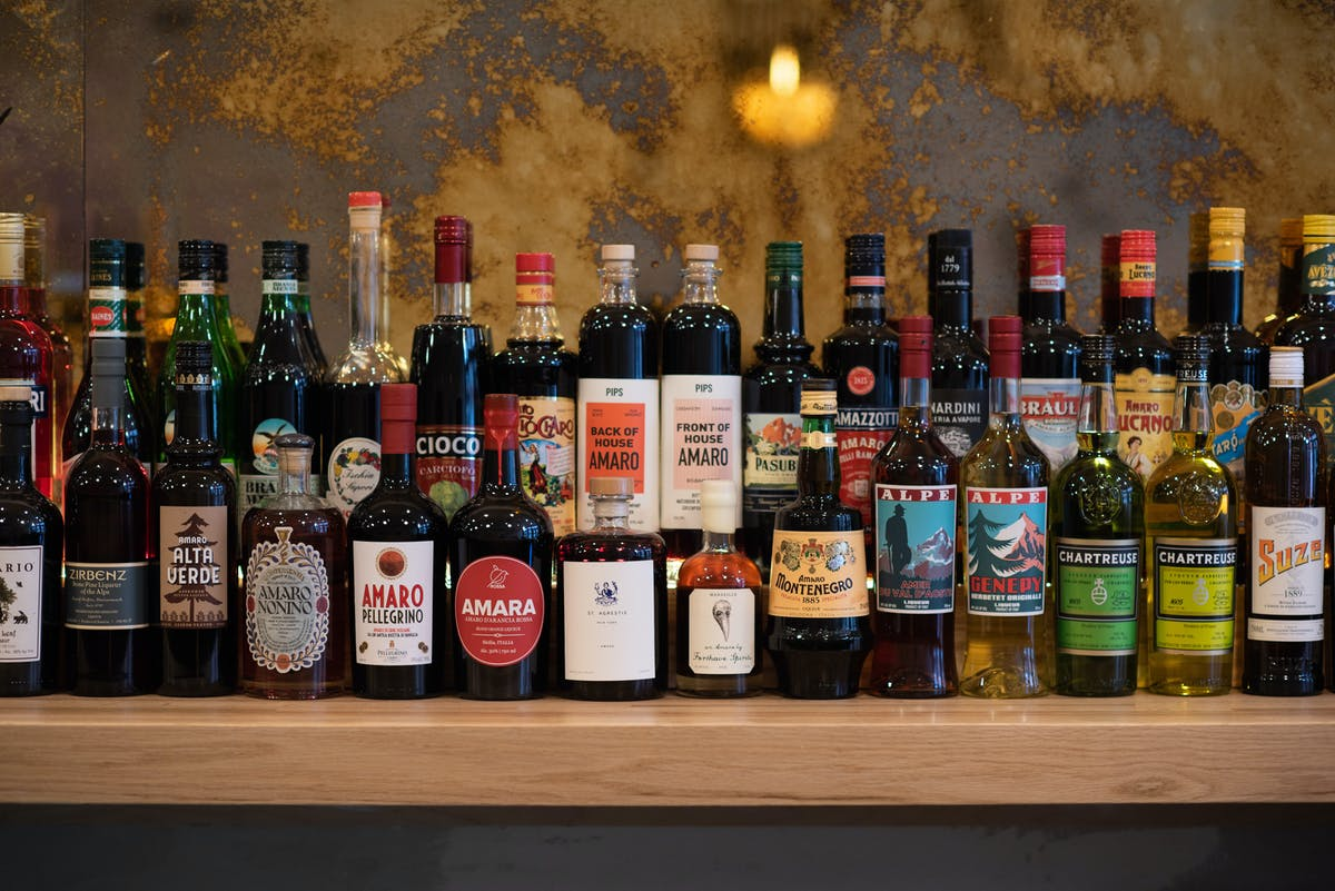 a picture of Italian spirits and amaro on display