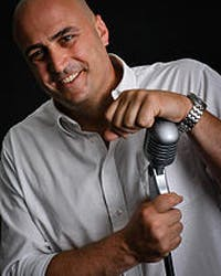 a man holding a microphone