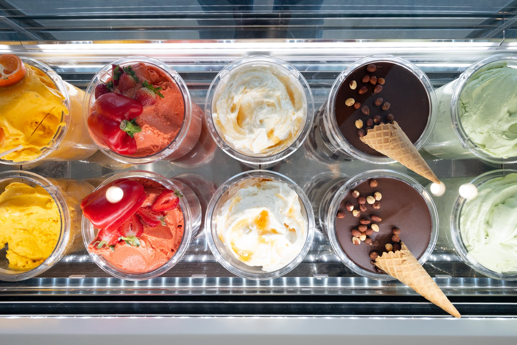 a tray topped with desserts