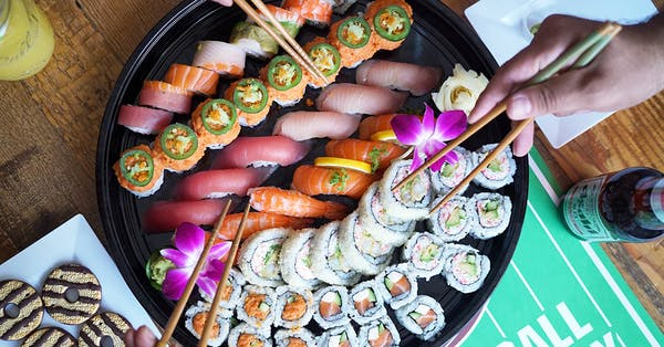 football sushi party platter