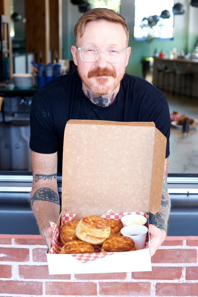 Zeb Stevenson eating a donut