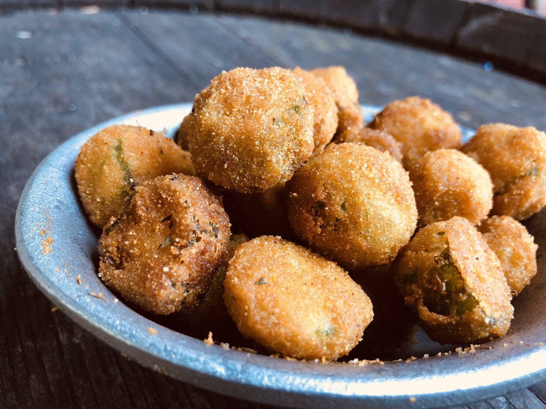 a close up of fried okra