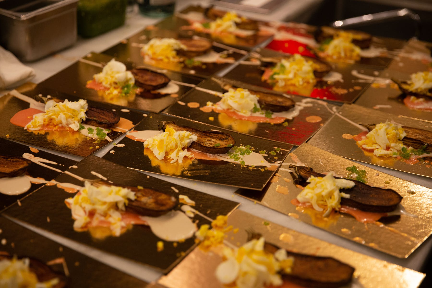 Individually plated appetizers for a party