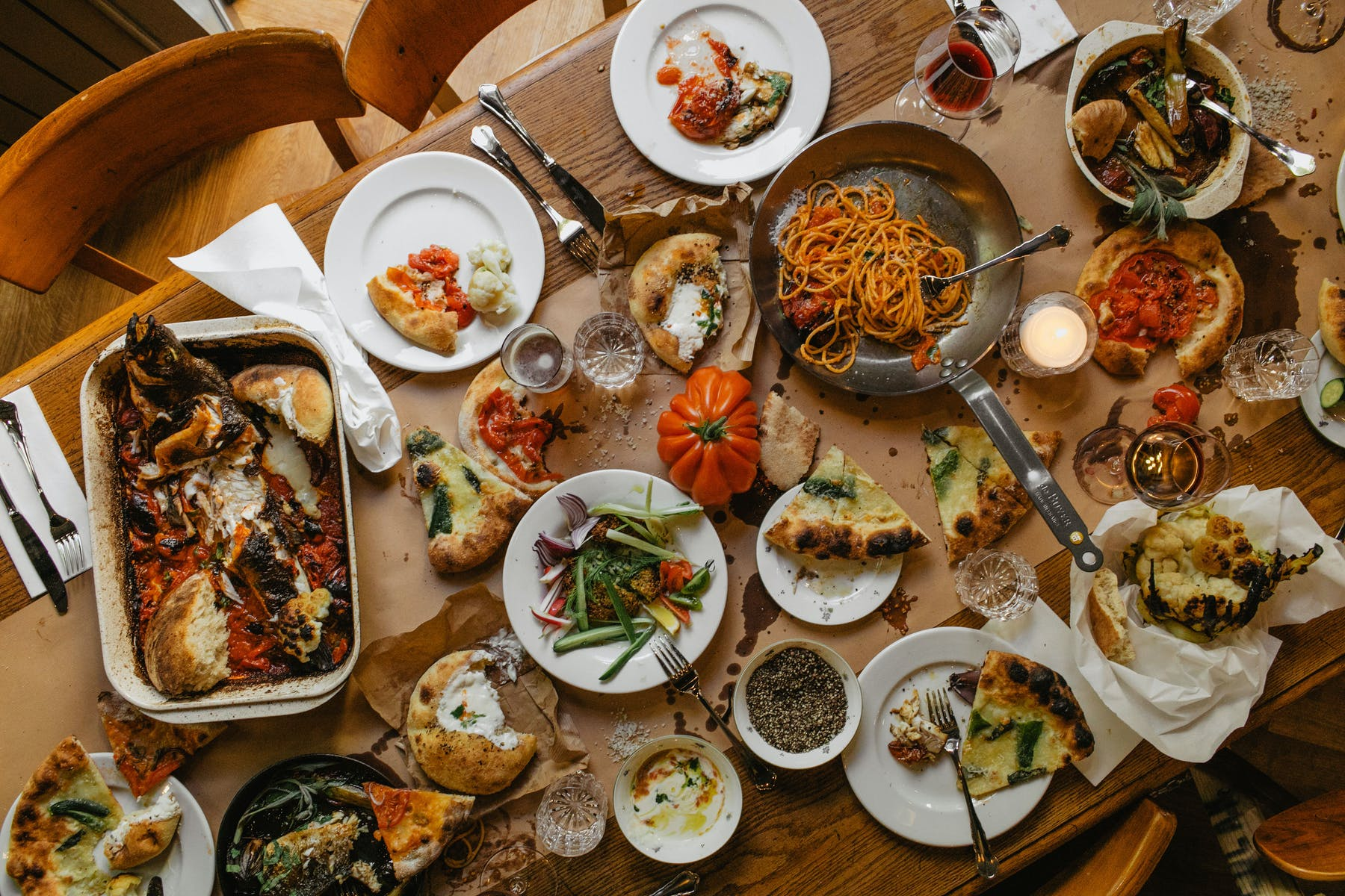 Lots of food to share for large format group dining