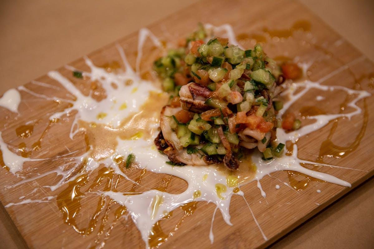 Calamari & salat aravi splattered on a plate