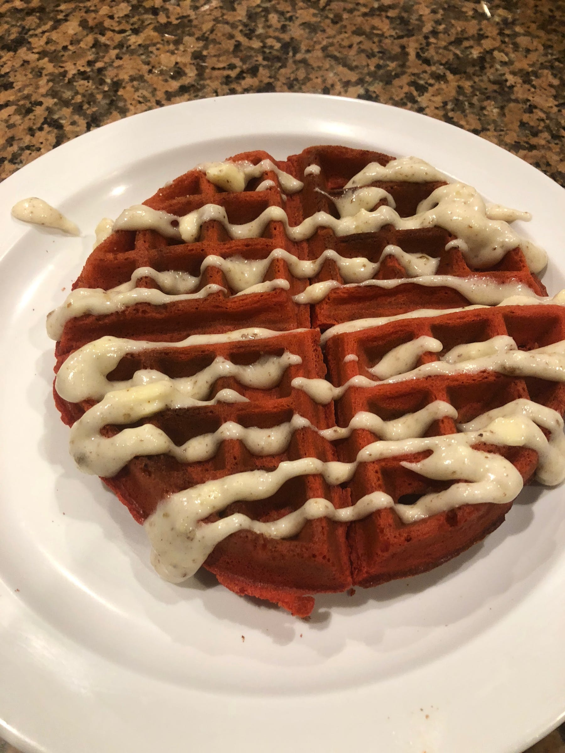 flavored waffle with dressing