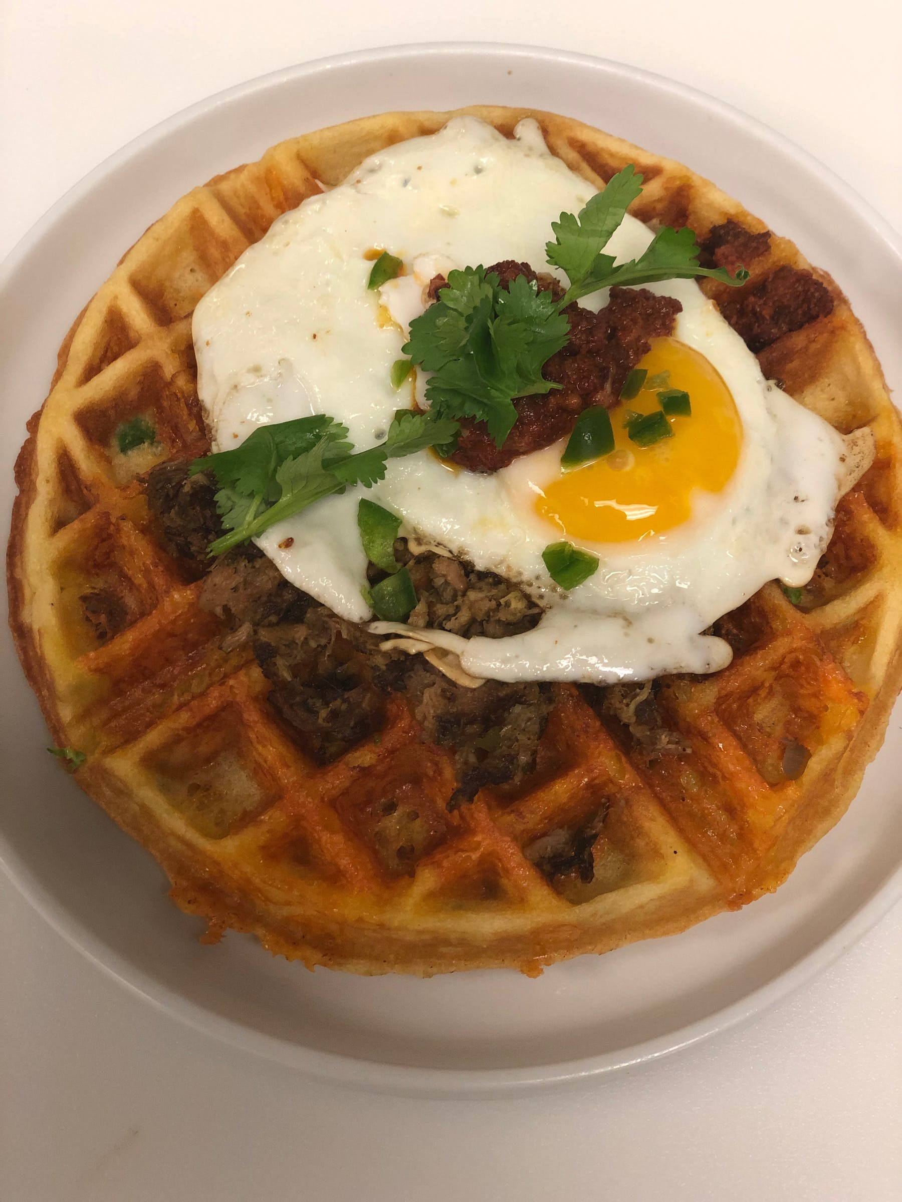 egg over easy and waffles