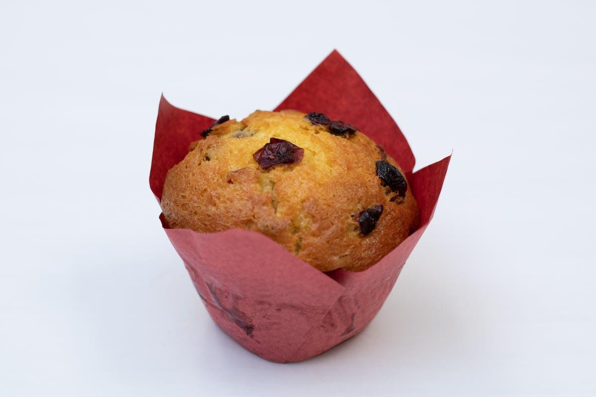a muffin with raisins