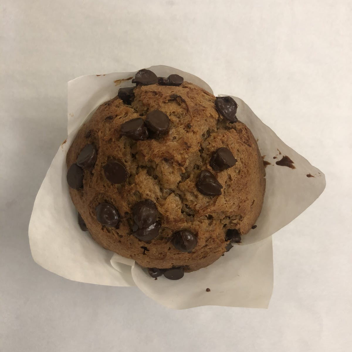 a muffin with chocolate chips