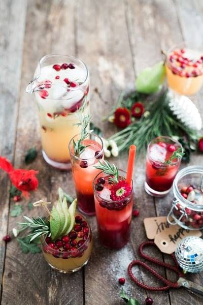 Xmas cocktails on a table