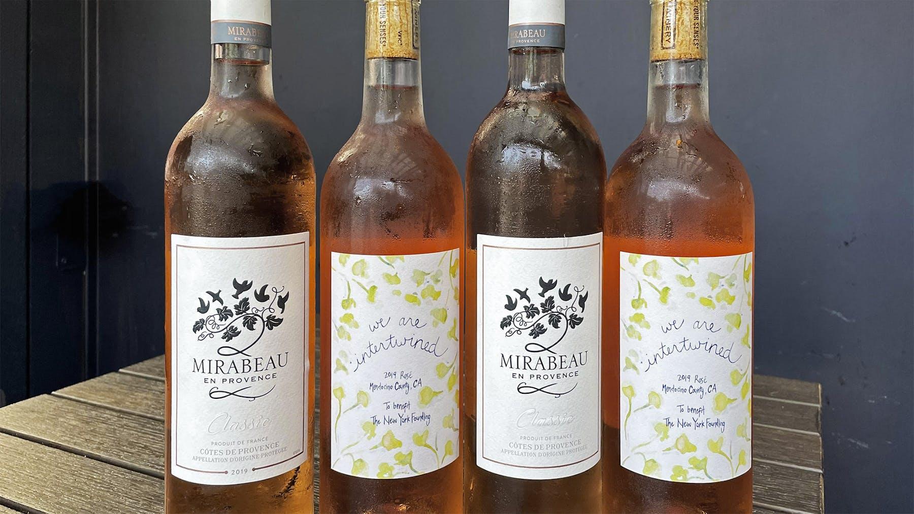 bottles of rosé wine
