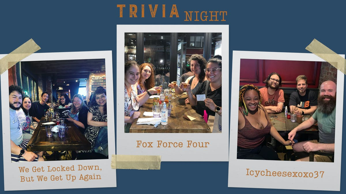 3 polaroids of teams who won at our previous trivia nights