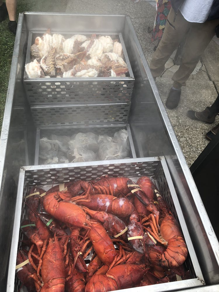 a lobster on a tray