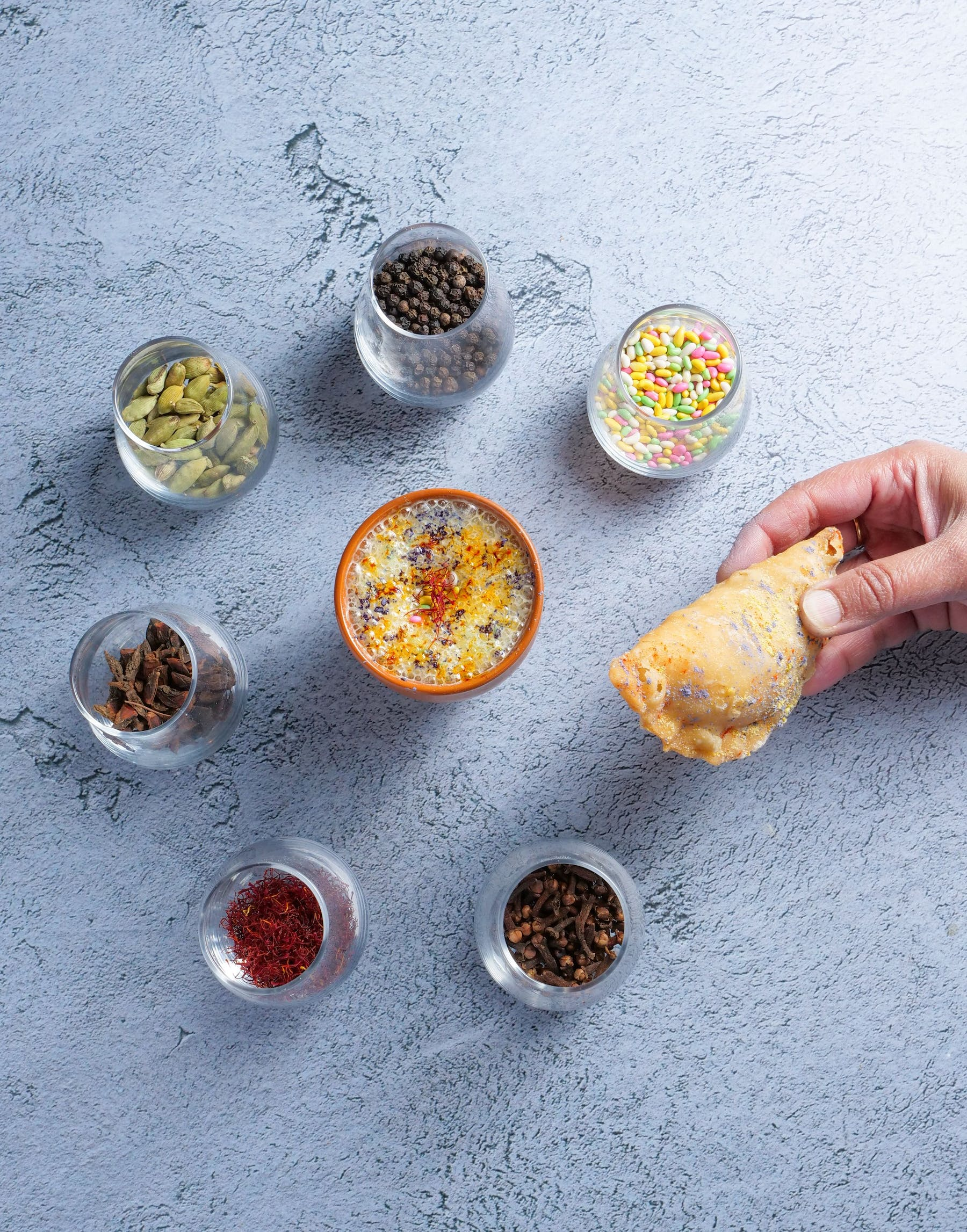 a close up of food on a counter