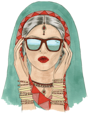 a drawing of woman with a veil on her head and she's wearing glasses and bracelets