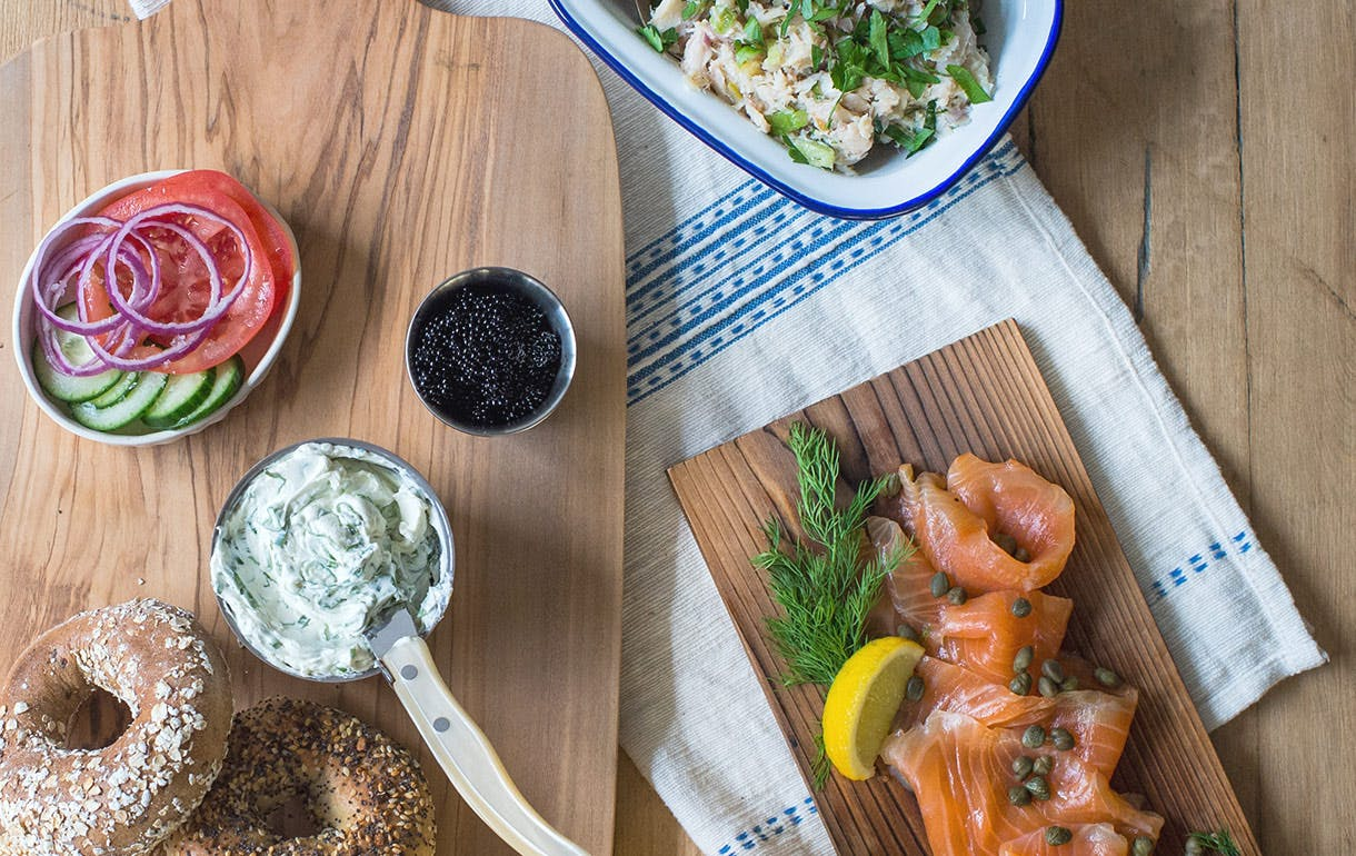 bagels, lox and cream cheese spread