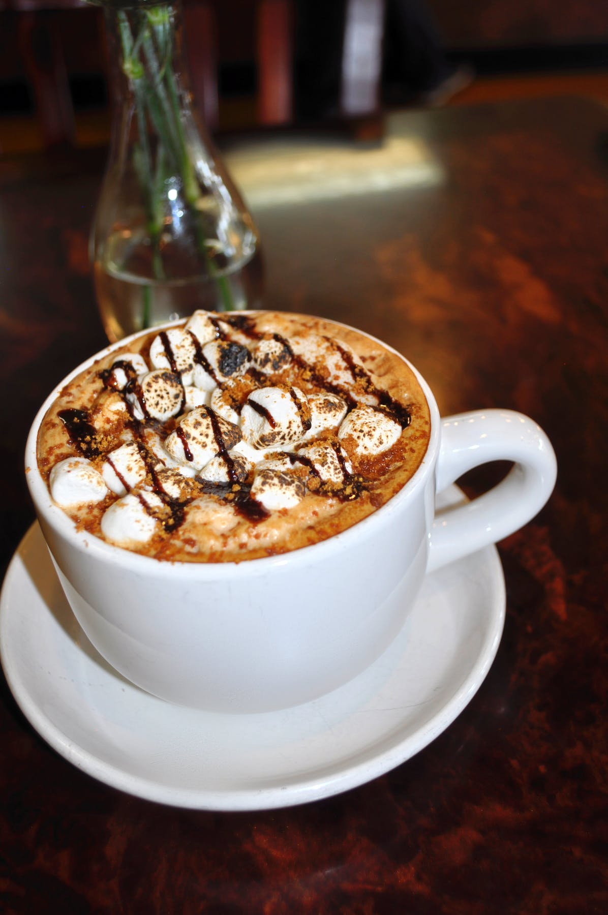 a cup of smores flavored coffee on a table