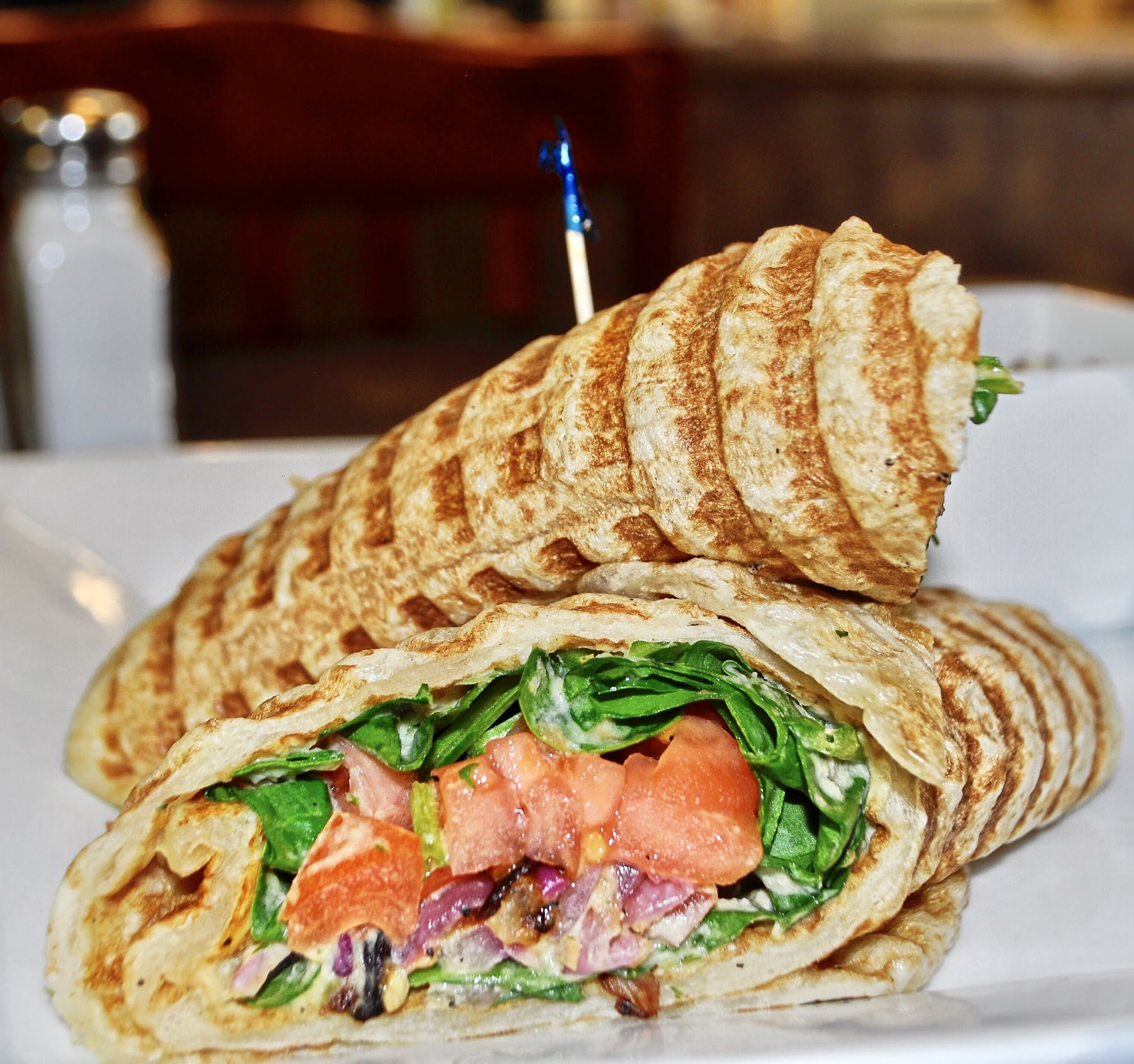 a close up of a vegan sandwich on a plate