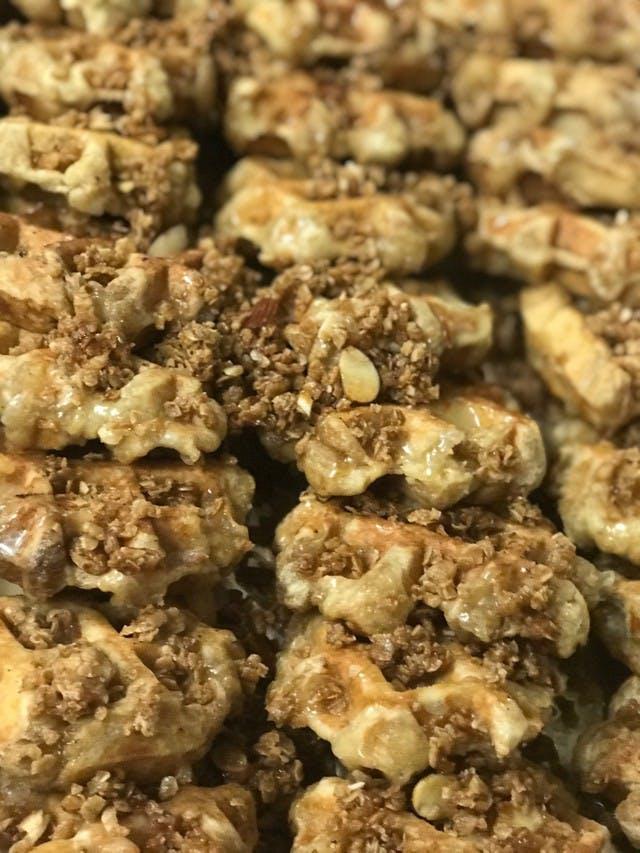 a close up of food