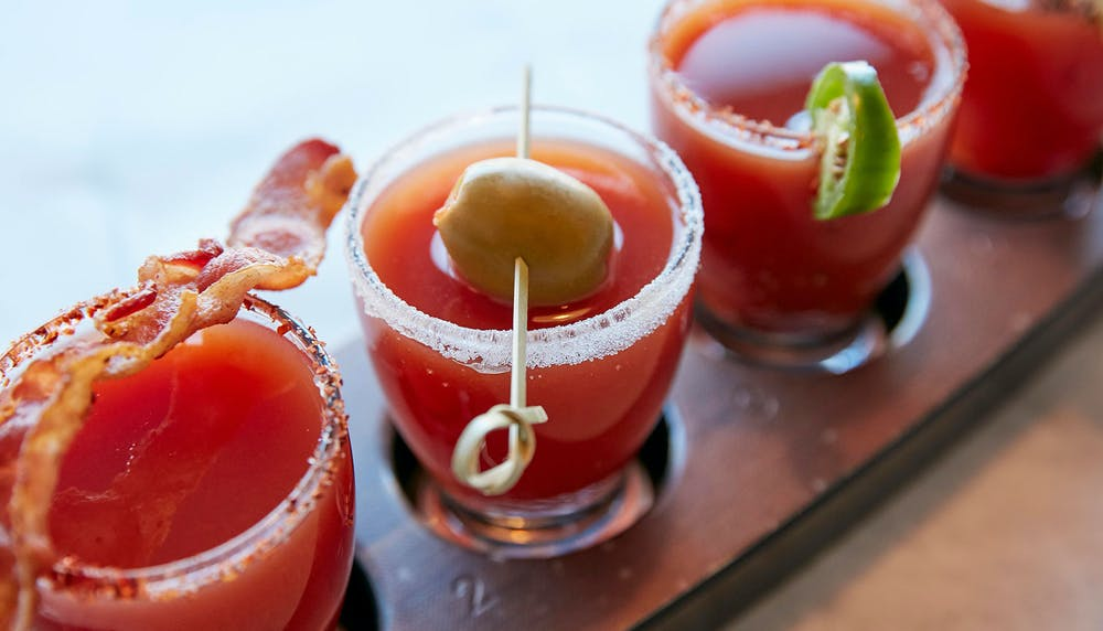 Beverages title. photo of flight of bloody marys