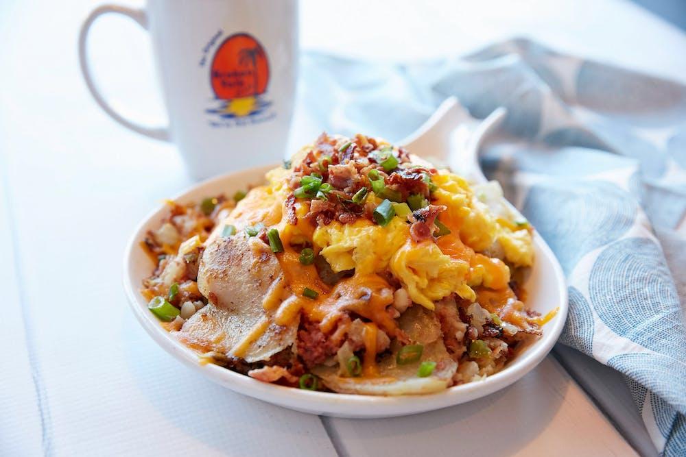 Breakfast Classics title. bowl of egg, potato, cheese, bacon