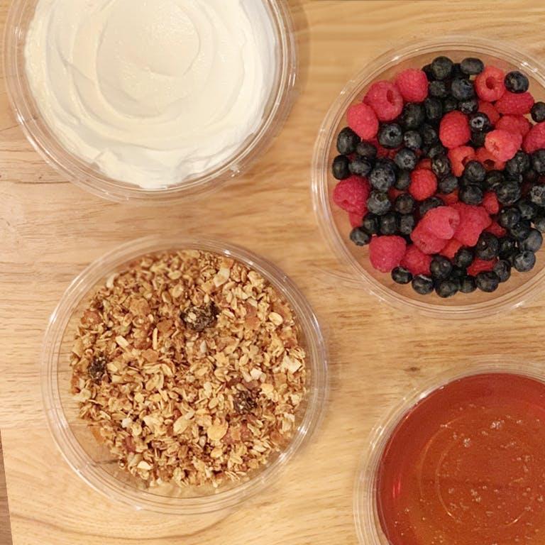 House baked salty granola, greek yogurt + honey with fresh fruit