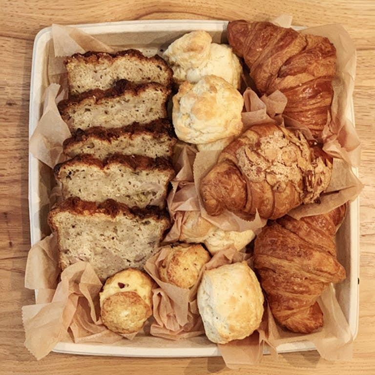 Bread basked including our housemade scones, croissants, toast, seasonal jam and butter