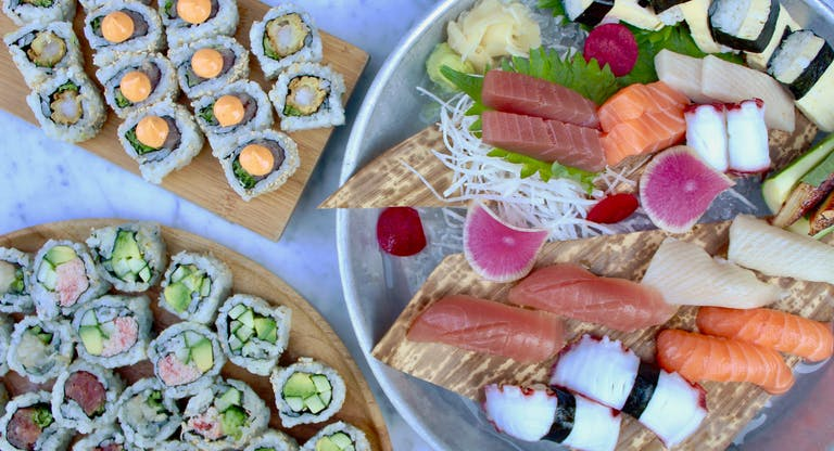 assorted sushi platters