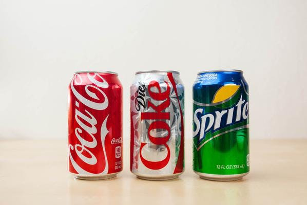 Selection of Canned Sodas: Coca-Cola, Diet Coke and Sprite