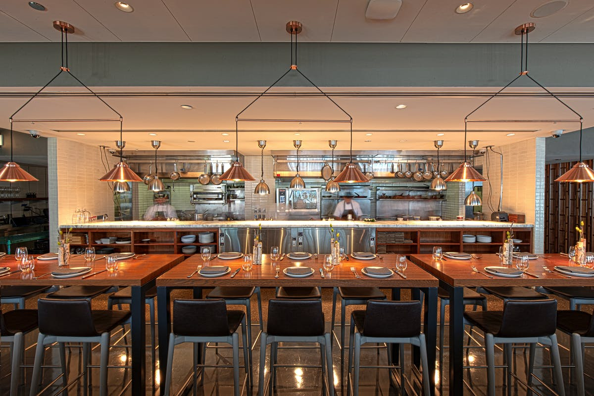 long table at chef's pass