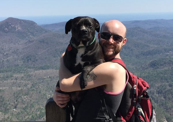 a dog wearing sunglasses and standing in front of a mountain