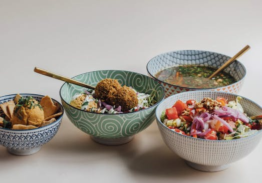 a bowl of food on a table