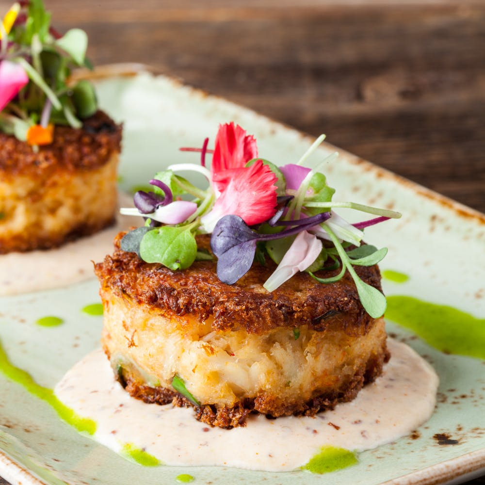 Crab Cakes and greens