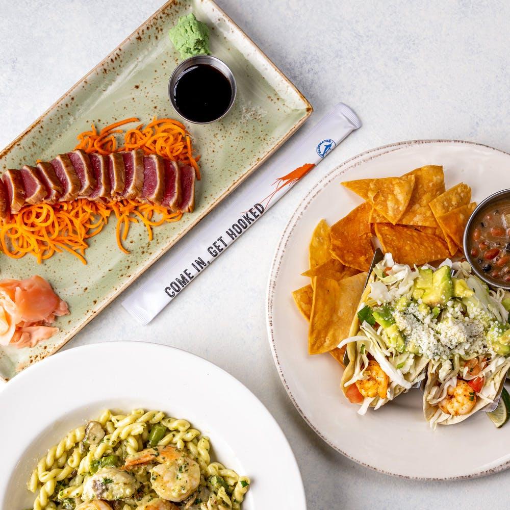 tuna sashimi, blackened shrimp tacos and gemelli