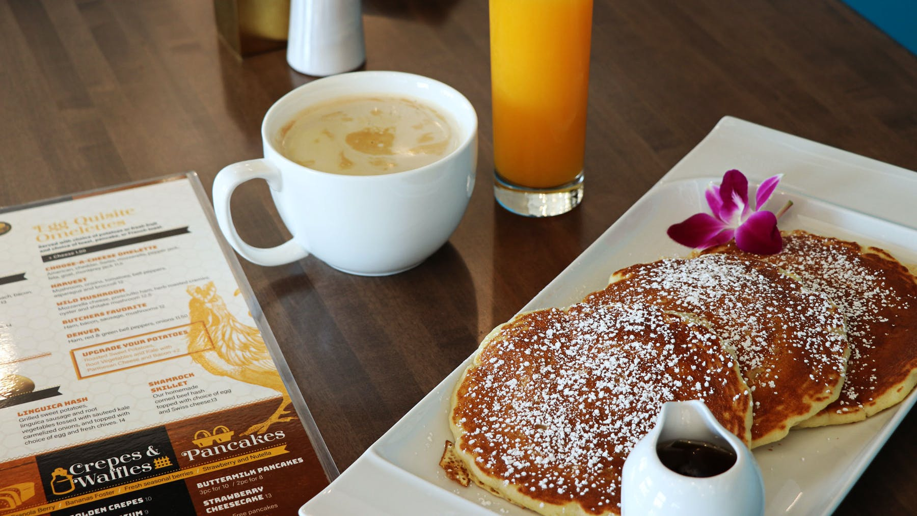 Pancakes with Latte and Freshly-Squeezed Orange Juice