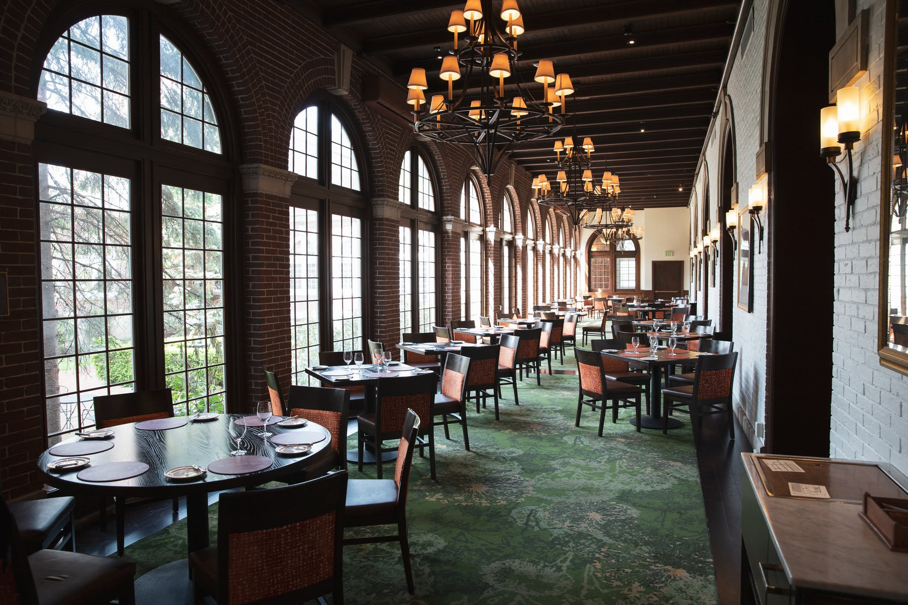 The dining room of the American Bounty Restaurant on the CIA campus in the Hudson Valley, NY.