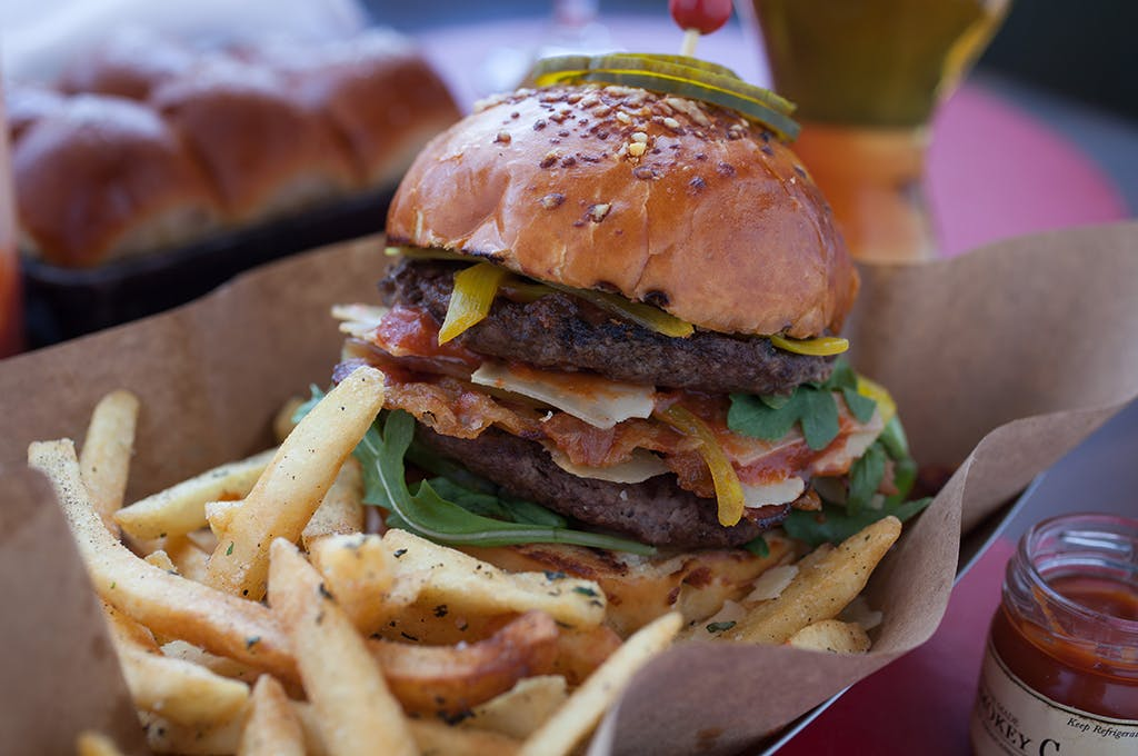 The Tavern Cheddar Burger at The Tavern at American Bounty at the CIA in the Hudson Valley, NY.