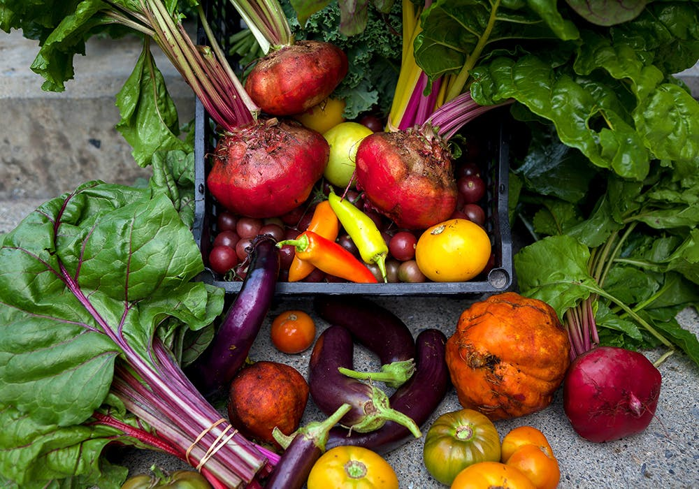 a group of fresh fruit and vegetables