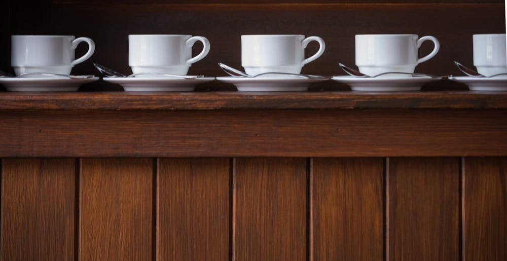 Row of coffee cups at The Culinary Institute of America in Hyde Park, NY.