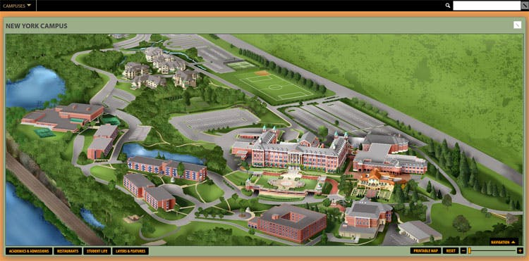 A screenshot of the virtual Culinary Institute of America Hyde Park, NY campus map.