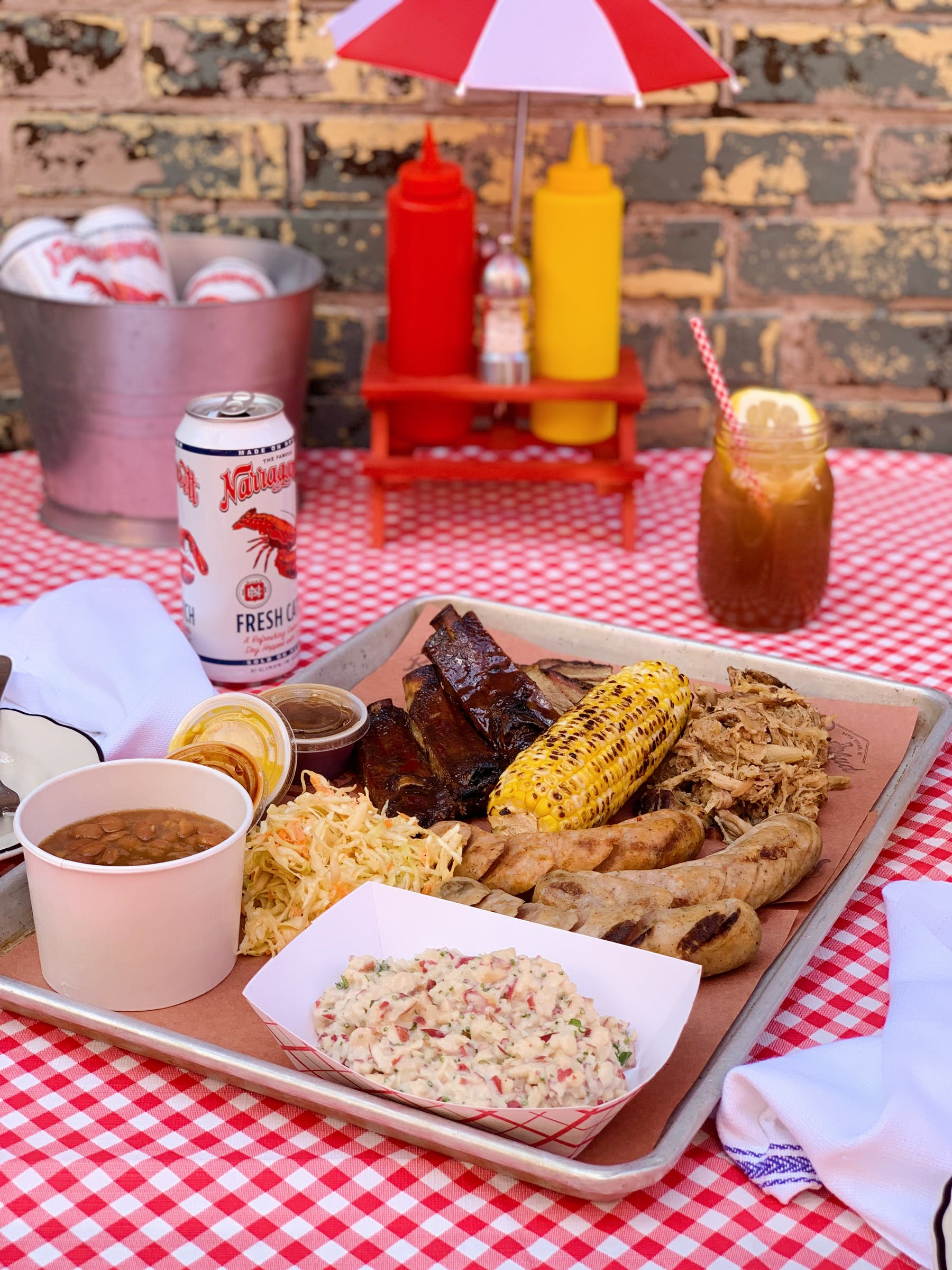 a plate of food on a picnic table