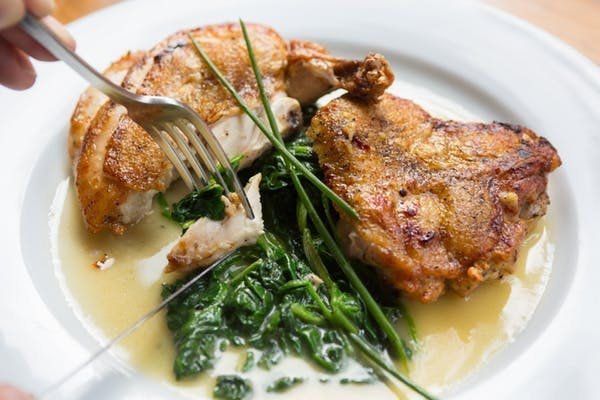 delicious chicken and spinach with chives
