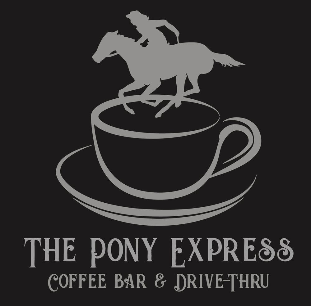 the pony express coffee bar and drive thru logo